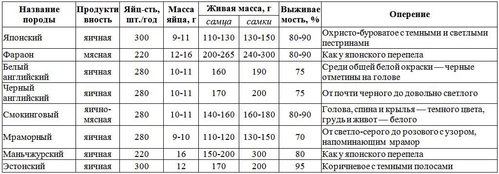 таблица пород перепелов